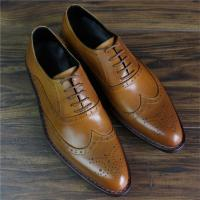 China Skyeshopping 100% Genuine Leather Calfskin Bespoke Mens Goodyear Welted Oxford  Brogues Shoes on sale