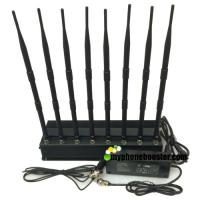 China 8 Channels 20w Indoor High Power Lojack/ WiFi/ VHF/ UHF Mobile Phone Jammer Jamming Range Up To 40m With Car  Charger wholesale