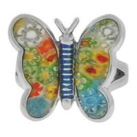 China Eco friendly Gold blue butterfly stainless steel jewelry murano glass ring for girls  wholesale