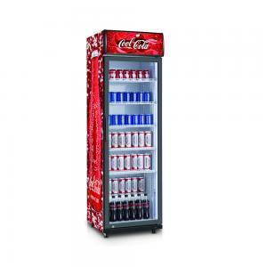 China Fan Cooling Coca Single Glass Door Display Fridge Showcase Upright Beverage Refrigerator wholesale