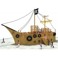 Pirate Ship Theme Outdoor Playground Equipment Cool Wooden Playground Structure for sale