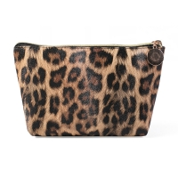 China Travel Portable Waterproof Leather Leopard Print Cosmetic Bag Storage wholesale