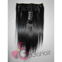 """China Black color clip in hair extension for 16"""" 18"""" 20"""" 22"""" 24"""" Brazilian human hair straight on sale"""