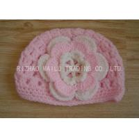 China Cable Pattern Pink Crochet Flower Hat Hollow Out Crochet Baby Hats With Flowers on sale