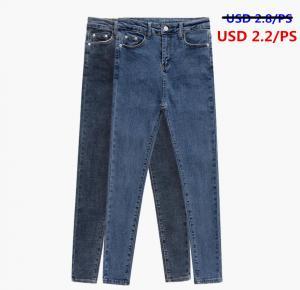 Stocklot Fashion cheap Custom High Waist 100% Cotton Skinny Women Jean