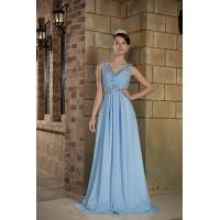 China Blue V Neck A-line Chiffon Long Evening Dresses Beads Party Gowns With Lace wholesale