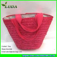 China LUDA wholesale name brand purses small handbags pink wheat straw bags wholesale