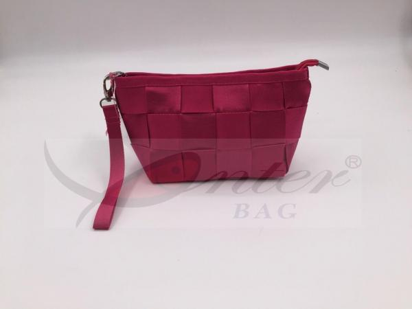 Quality Pink Nylon Webbing Travel Cosmetic Bags For Outdoor Activity / Traveling for sale