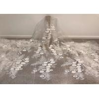 "China Off White Mesh 3D Flower Embroidery Beaded Lace Fabric 50"" Wide 1 Yard wholesale"