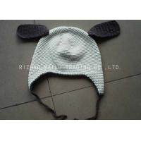 China White Crochet Winter Hat With Brown Earflap And Ribbon / Crochet Beanie Hats wholesale