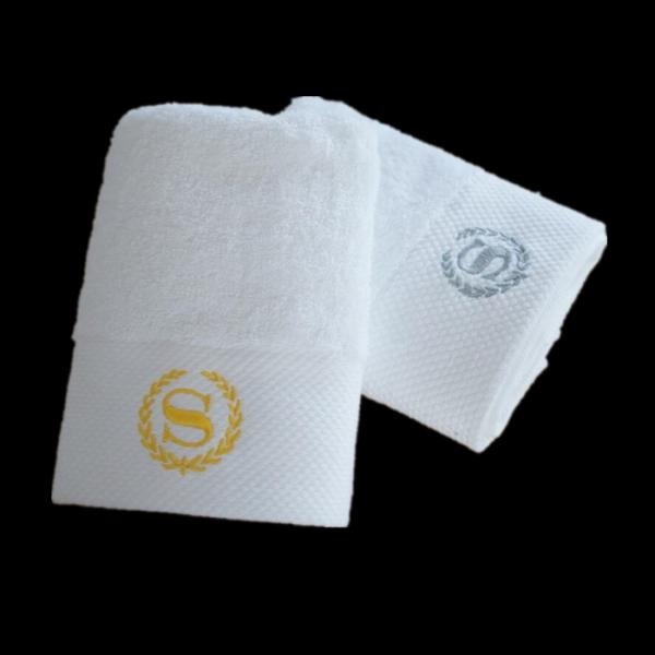 Quality 100% cotton white satin jacquard hotel towel sets with logo for promotion for sale