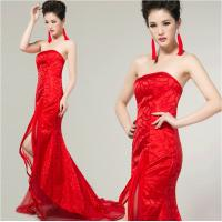 China Sexy strapless traditional chinese wedding dress with long trains , open back on sale