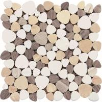 China Black And White Glass Mosaic Tiles , 3D Triangle Round Marble Mosaic Wall Tile 30x30 on sale