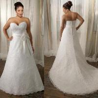 China Strapless Sweetheart a-Line Lace Plus Size Wedding Gown (PS0028) on sale