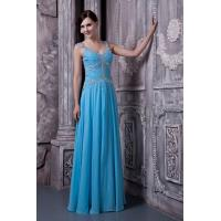 China Elegant Strap Sweetheart Chiffon Blue Evening Dresses Floor Length Party Gowns Beads wholesale