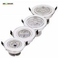 China 20pcs/lot best price 9W 12W 15W 21W dimmable LED downlights spotlightsAC85-265V silver 110-770LM Cold /Pure/Warm white wholesale