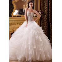 China Custom Size Layered Organza Empire Line Wedding Dresses , Strapless Sweetheart Bridal Gowns on sale
