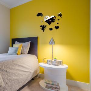 Fashion Stereo creative clock heart-shaped creative mirror acrylic wall clock