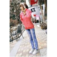 China Colorful Tops , Ladies Hooded Sweatshirts Red / Black / Green Little on sale