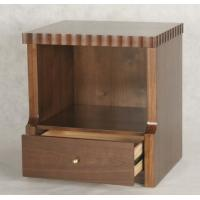 China Low price competitive brown finishCustom made walnut wood 1-drawer night stand of hotel bedroom furniture,bed side table wholesale