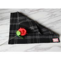"China 59"" Width Tartan Wool Fabric Black Background With White Line 40% Polyester wholesale"
