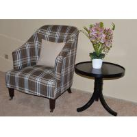 China Plaid Brown Wooden Chaise Lounge Chair Solid 2 Legs With Caster wholesale