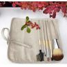 China 5 Pcs Professional Cosmetic Brush Set , Complete Makeup Brush Set Linan Bag Bamboo Handle wholesale