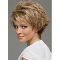 New Fashion Trend Carefree Short Straight Blond Brown Mix Color Full Lace Wig 100% Human Hair 6 Inches