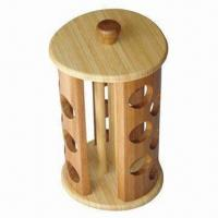 China Eco-friendly Rotating Bamboo Spice Rack, Suitable 18 Jars, Measures 19 x 19 x 33.6cm wholesale