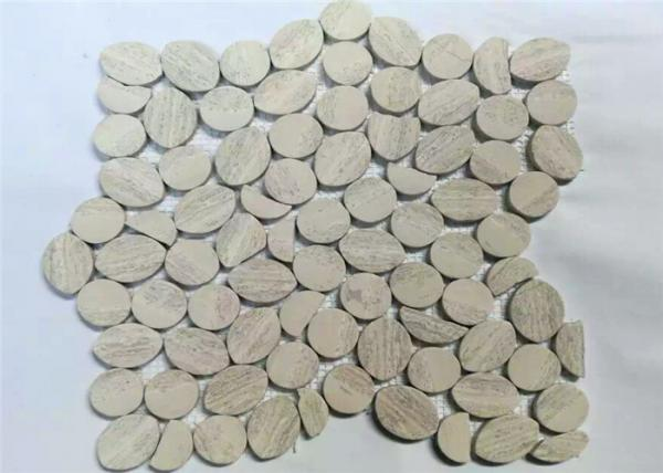 Quality Grey Wooden Pebbles Natural Stone Mosaic Tile Sheets , Stone Mosaic Wall Tiles for sale