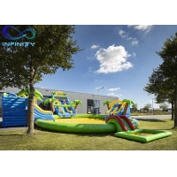 China Outdoor Funny Inflatable maga jungle Water Park Bouncer Slide with water pool For Sale wholesale