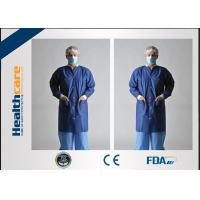 China Economical Lint Free PP Disposable Lab Coats With Knitted Collar and Velcro on sale