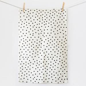 China Pure cotton black polka dot print 60*85cm tea towel tea towel factory on sale