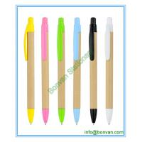China eco paper promotional pen, craft paper advertising ball pen wholesale