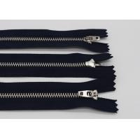 China Silver Brass 28 Inch Metal Jacket Zipper , Copper Clothes Double Open Ended Zips wholesale
