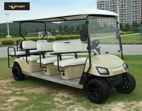 Quality Bronze Street Legal Electric 8 Passenger Golf Cart With Black Seats , Sharp Looking for sale