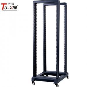 China 19 Inch 4 Post Open Frame Server Rack Four Poles With Castors Black Color wholesale
