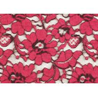 China Red Brushed Elastic Lace Fabric Eco Friendly 135cm Width OEM / OMD CY-LQ0001 wholesale