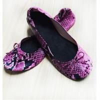 China New Different Partens Fake Snake Skin of Fold Up Ballet Flats for Ladies with Compact Carrying Tote Bag wholesale