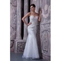 China Luxurious Sweetheart Strapless Mermaid Evening Dress Long Party Gowns White Beads wholesale