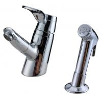 China Unique 2 Hole Ceramic Low Pressure Basin Taps Faucets , Pull Out Shower Head With Switch wholesale