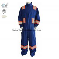 China Blue Cotton Fr Reflective Coveralls / Flame Resistant Insulated Coveralls wholesale