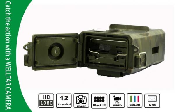 Quality Black IR GPRS Wireless Wildlife Camera , HD 1080P Hunting Video Cameras for sale