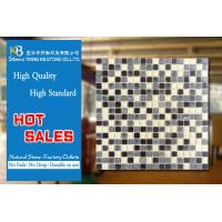 China Water proof Strip yellow glass mosaic mix grey stone tile for wall decoration wholesale