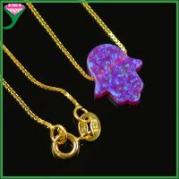 China OP54 pure 18K Gold Plating Sterling Silver chain violet Synthetic Opal Hamsa Necklace wholesale