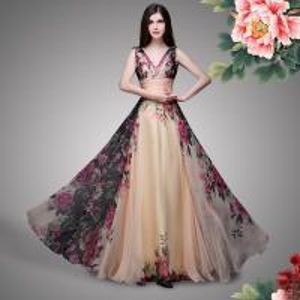 China Double Shoulder Straps Rose Print Flower Bridesmaid Dress Chiffon Bridesmaid Dress wholesale