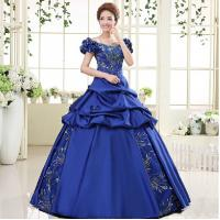 China Plus size Sapphire Cosplay Costume Women 2014 Sequined Floor-length Fancy Dress with Bow Custom on sale