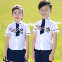China Square Collar Polyester Kids School Uniform White Short Shirt For Girls And Boys wholesale