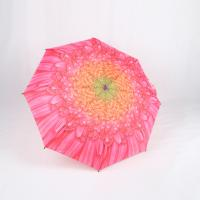 China Custom Manual Open Umbrella , Pink Flower Print 3 Fold Umbrella For Women wholesale