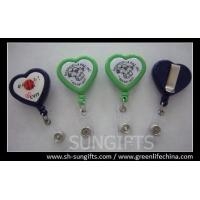 China Solid color heart shape badge reel with slide clip and clear vinyl strap wholesale